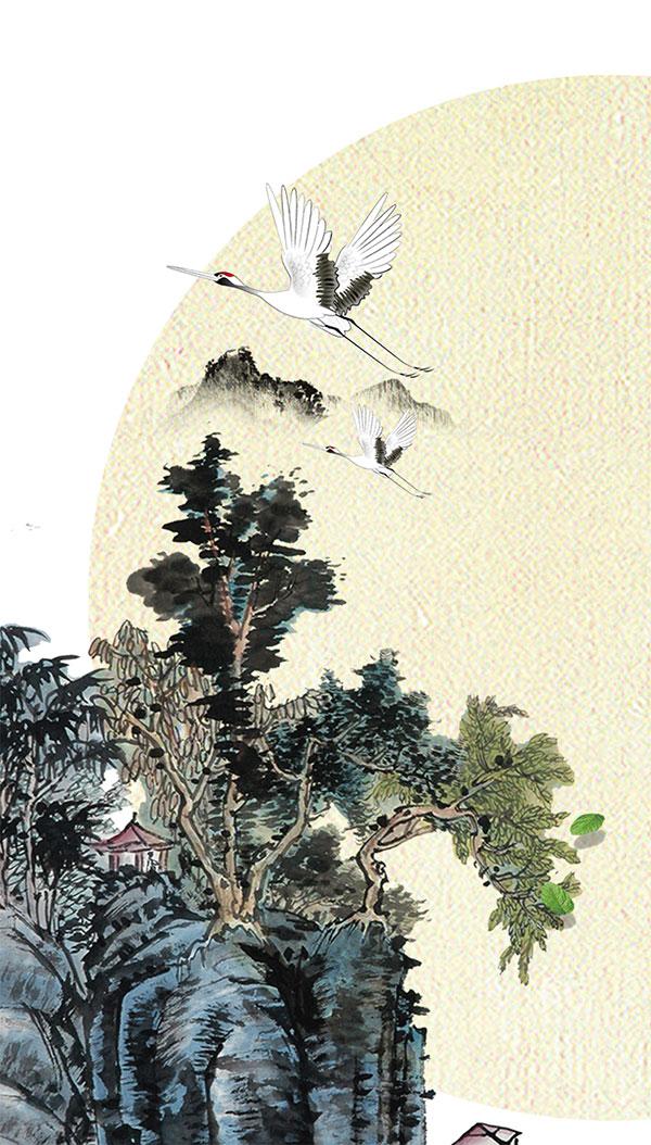 中国风水墨仙鹤插画