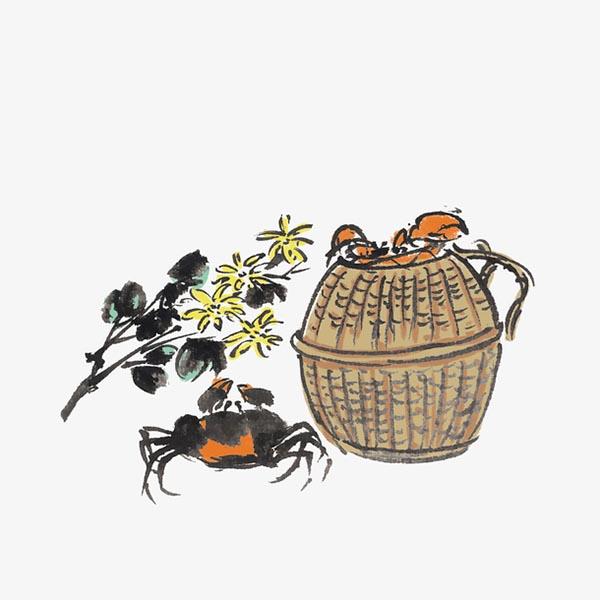蟹笼螃蟹手绘