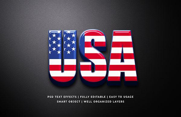 美国国旗图案立体字