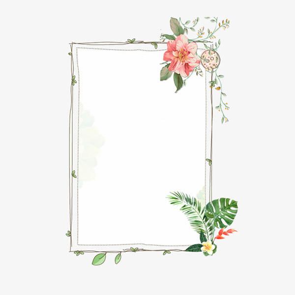 粉色花唯美清新边框