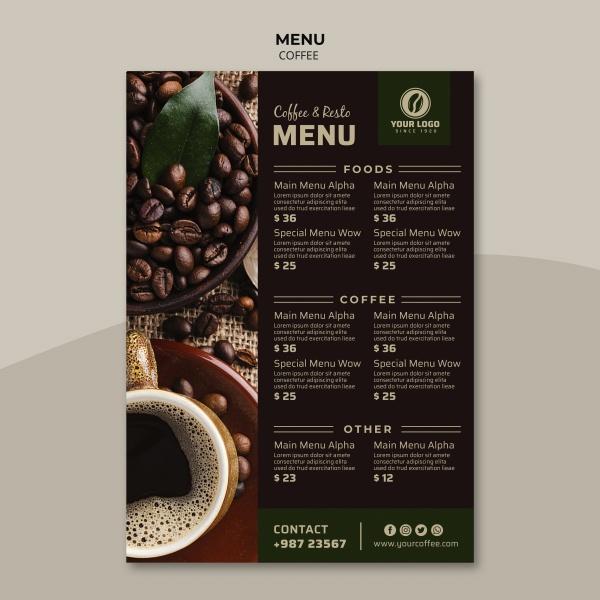 咖啡馆点餐单模板