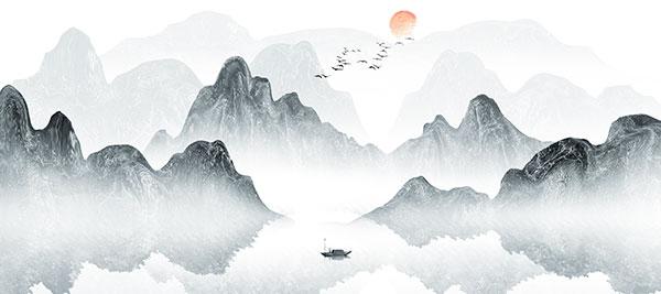 大雁东南飞山峰水墨画