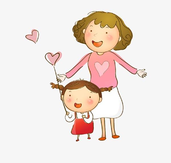 卡通手绘母女插画