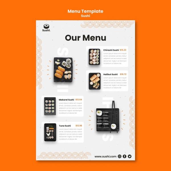 寿司餐厅菜单模板