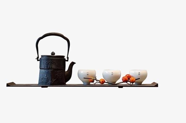 中式茶壶茶杯元素