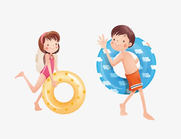 卡通游泳男女