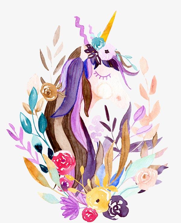 水彩手绘独角兽