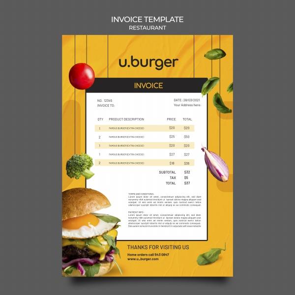 汉堡餐厅收据模板