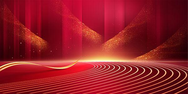 红色底纹光效商务背景图