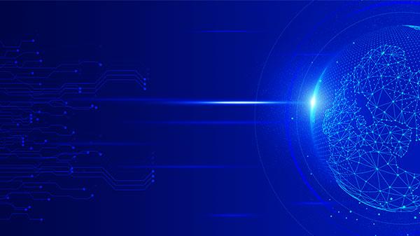 科技元素球体蓝色背景图