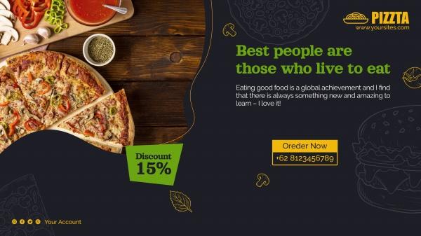 披萨美食横幅模板