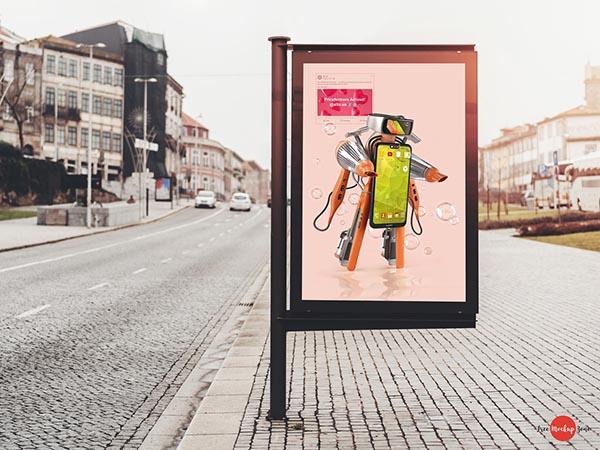 路边广告横幅样机