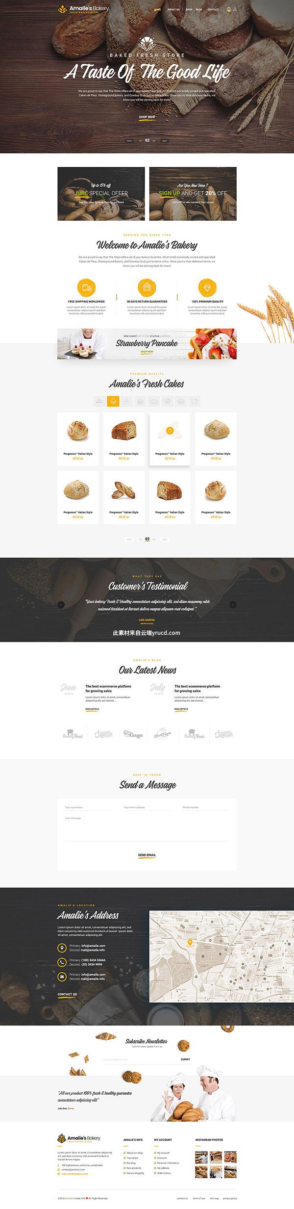 3 点 关键词: 面包店蛋糕店网页模板,网页设计,设计模板,面包店网页图片