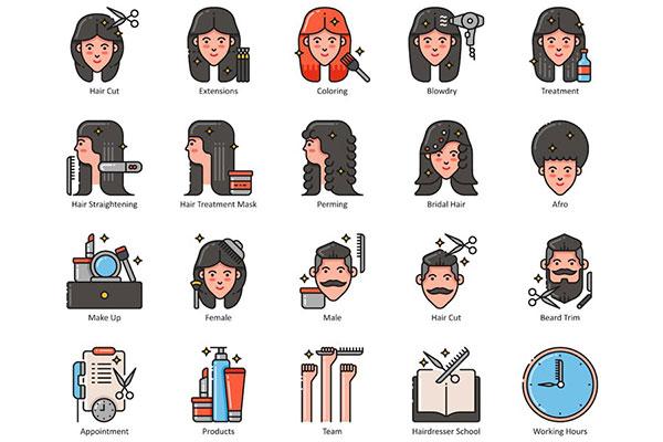 美容美发人物图标