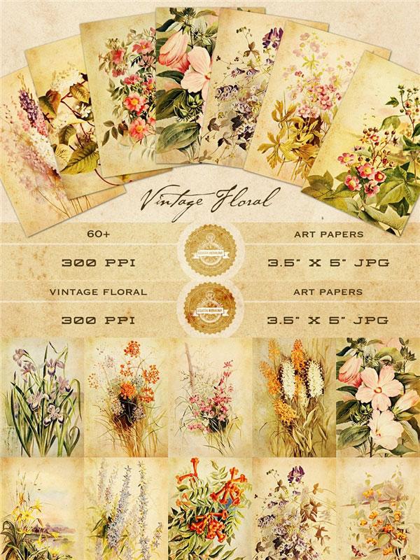 古典花卉艺术贴纸