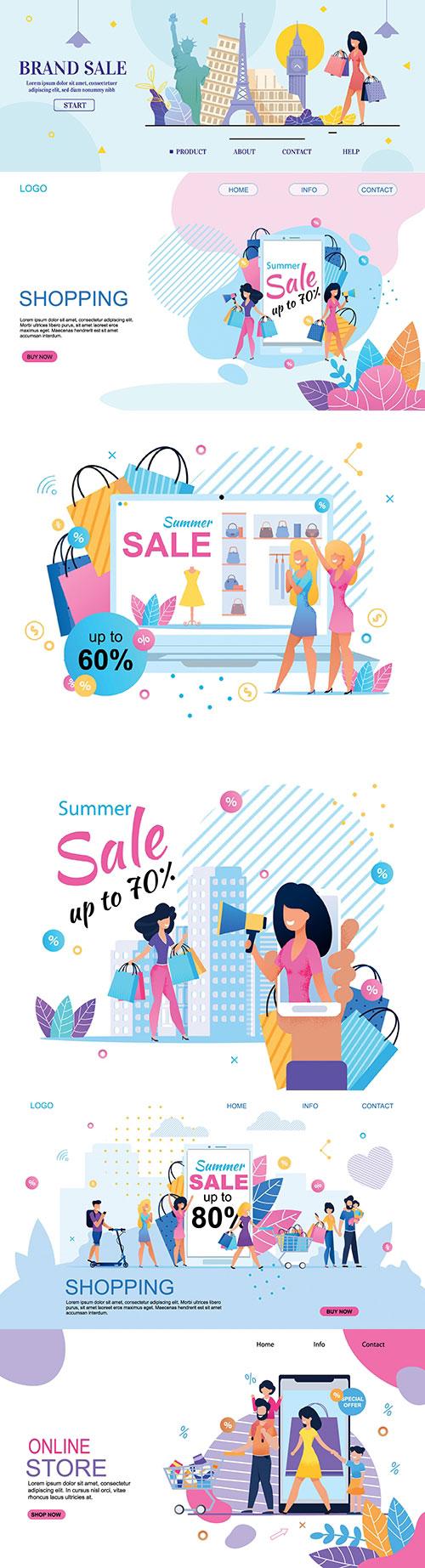 扁平化促销购物插画