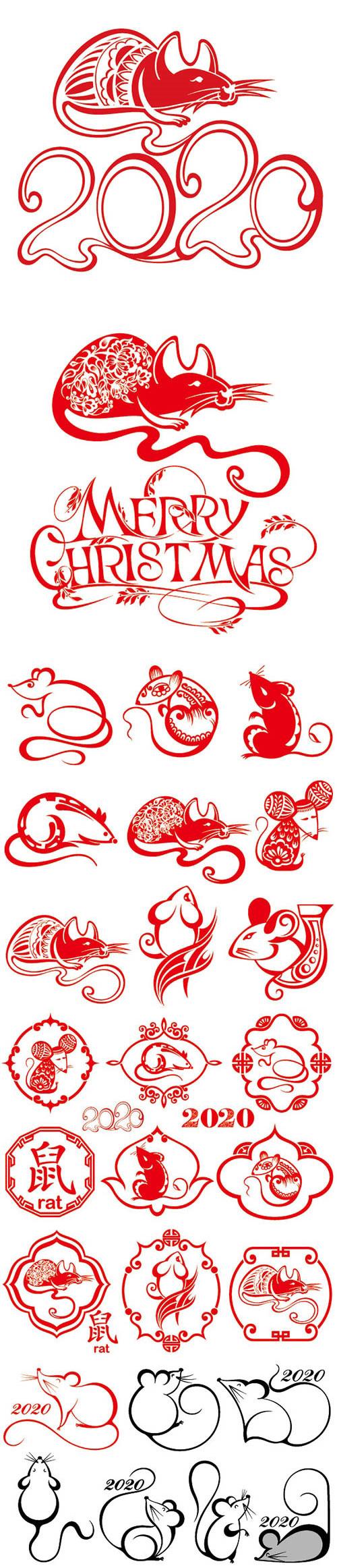 喜庆鼠年剪纸图案