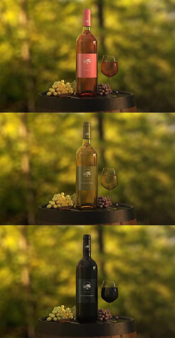 红酒酒瓶标签样机