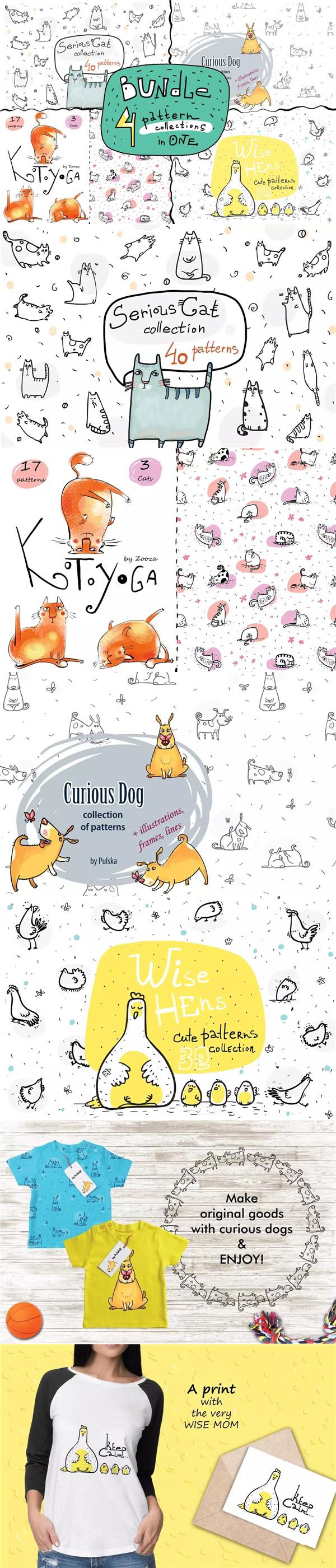 动物印花图案插画