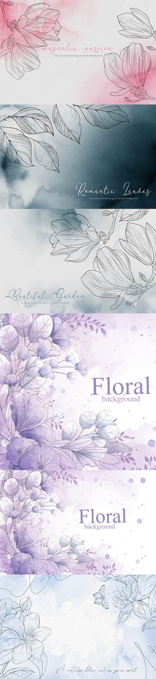 手绘素描风格花朵