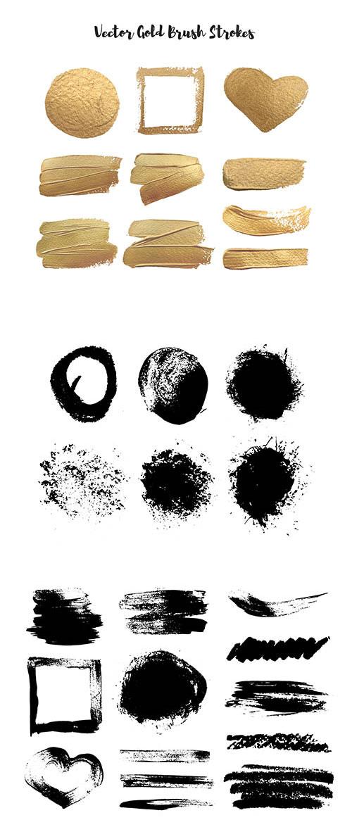 金色与黑白色墨痕元素