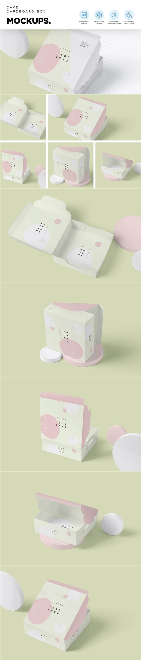 蛋糕盒包装设计样机