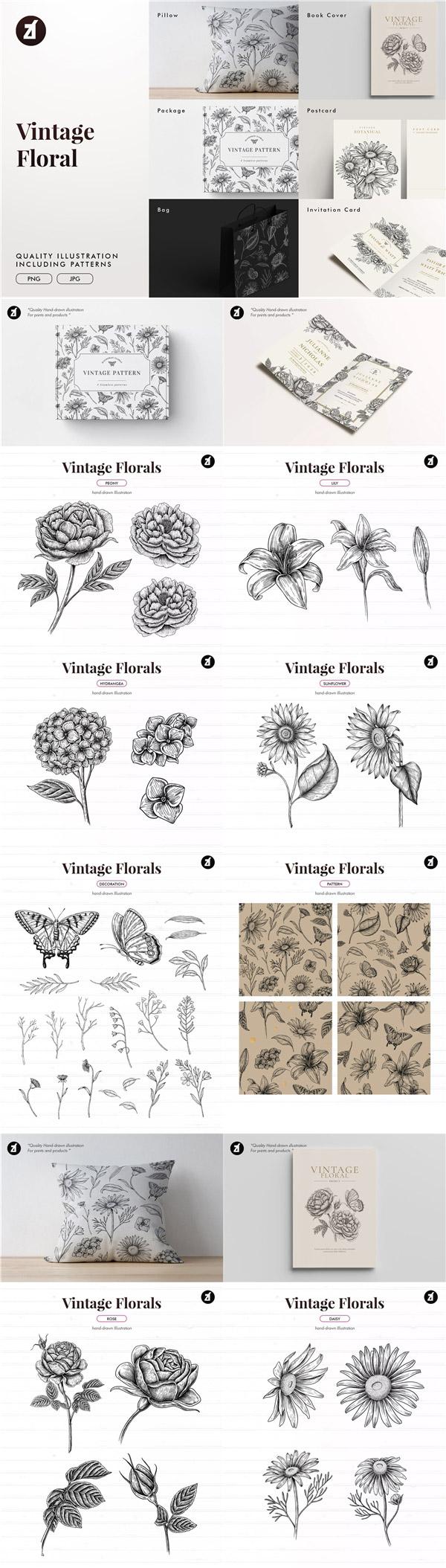 复古花卉插画元素