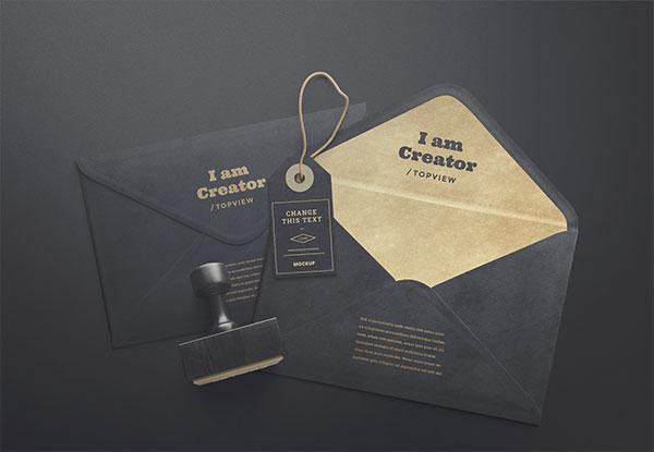 黑色信封展示样机
