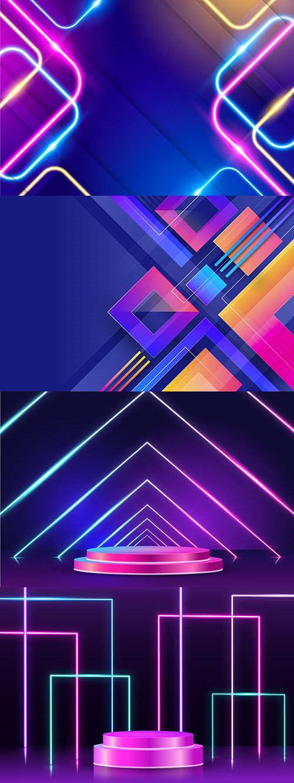 几何图形与霓虹线条背景