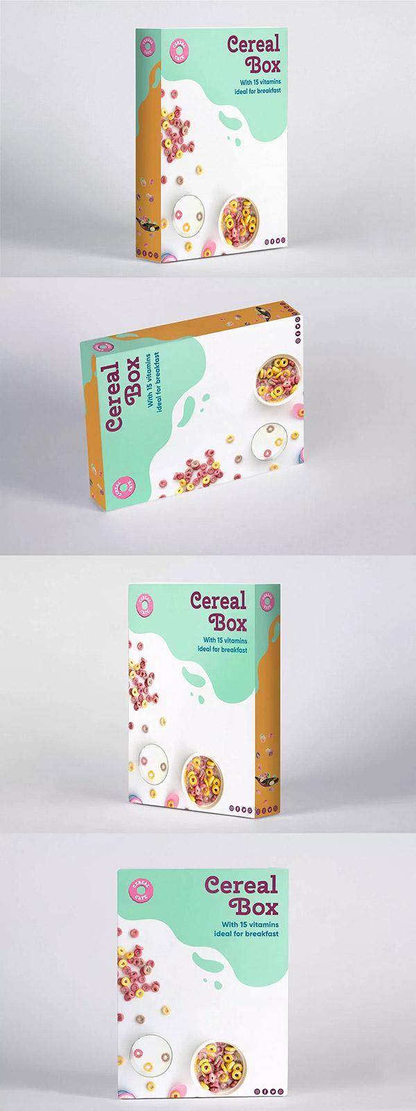 谷物麦片盒包装样机