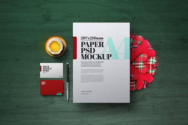 圣诞花环A4传单海报样机