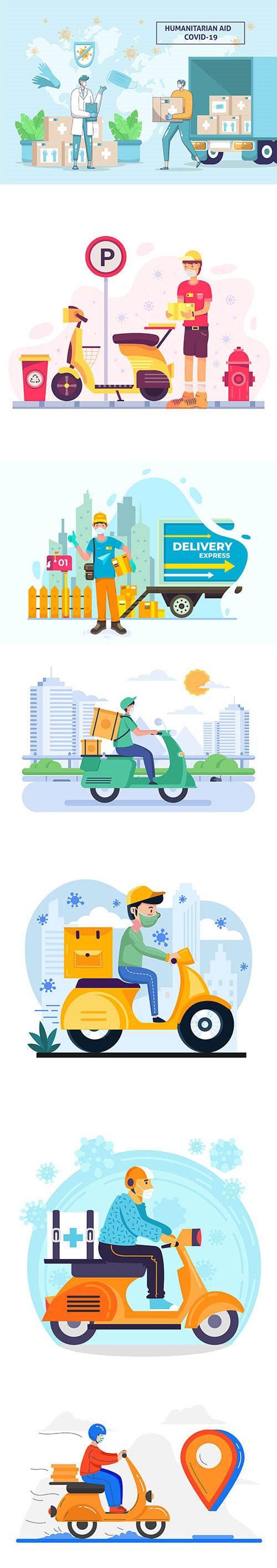 疫情防控与货物运输插画