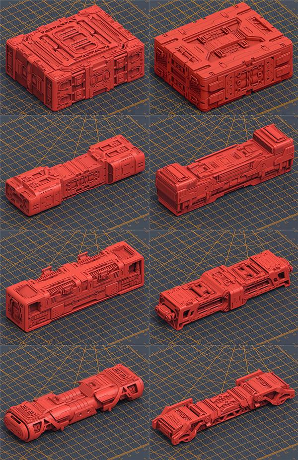 �C械硬部件箱盒C4D模型