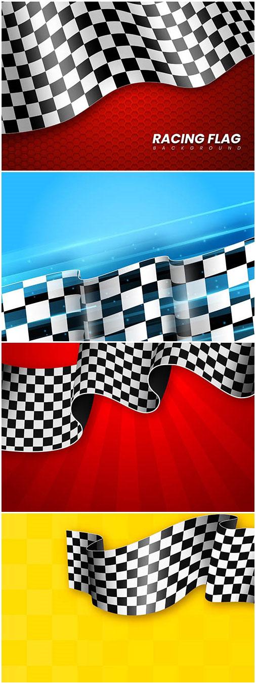 黑白格子赛车旗帜背景