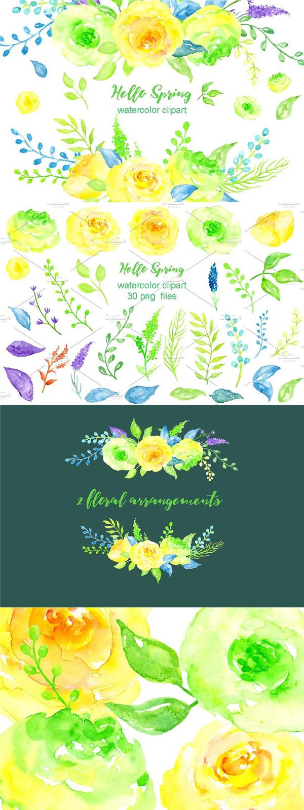 水彩花卉剪贴画