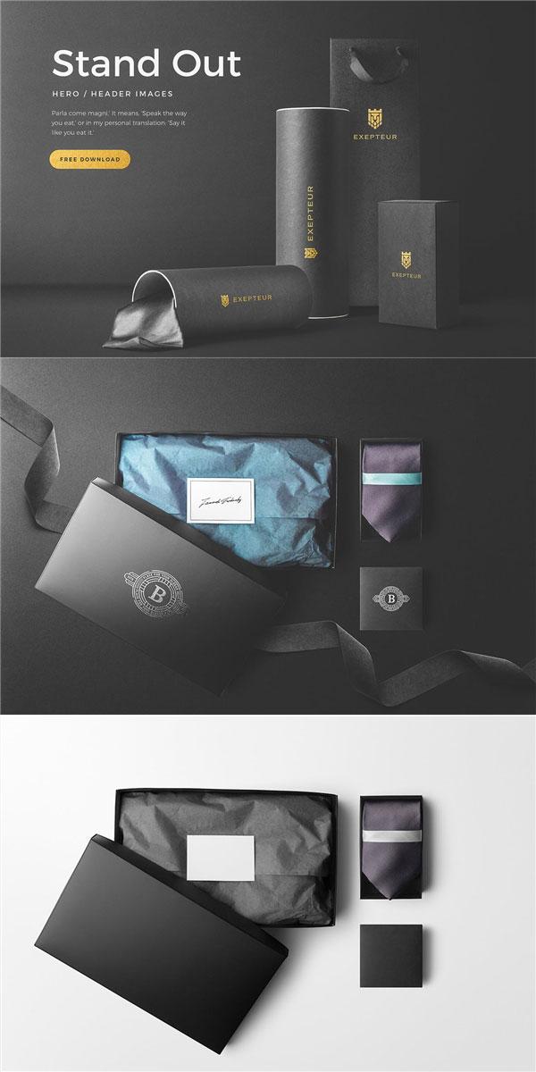 黑色领带盒样机