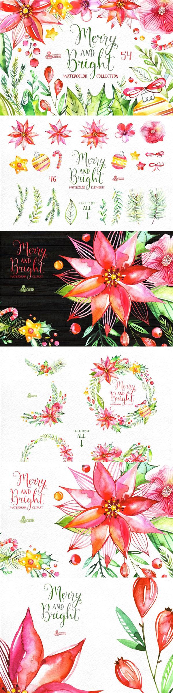 明亮水彩花卉