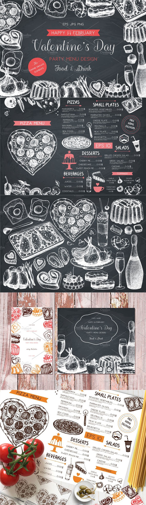 矢量情人节菜单