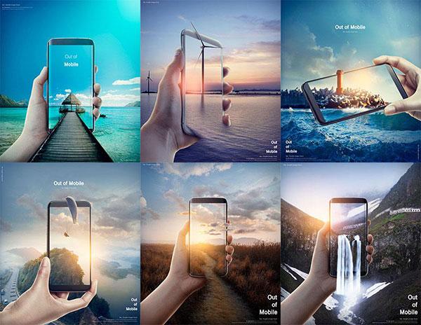 手机自然融合海报