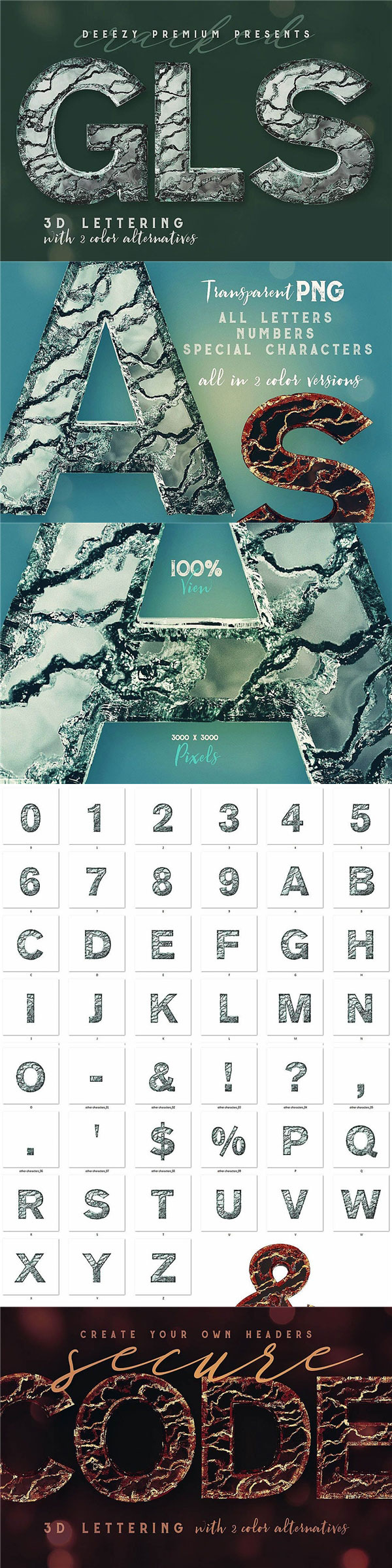 破裂玻璃字母数字