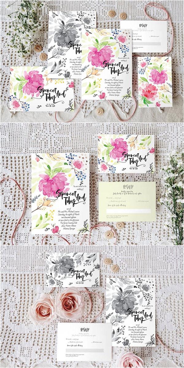 手绘花卉婚礼邀请函