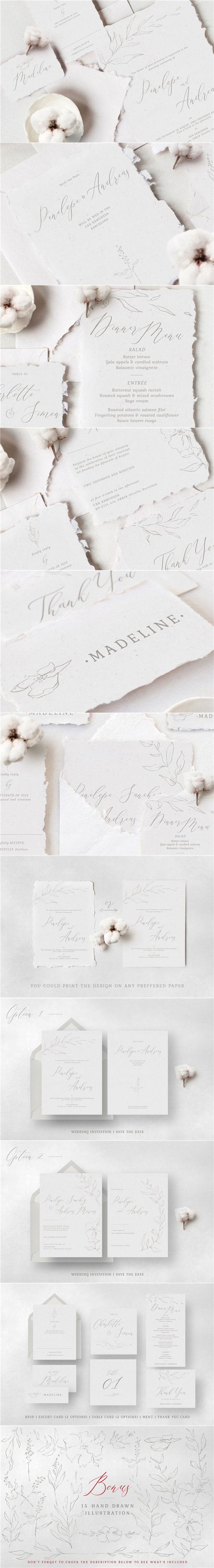 花卉图案婚礼邀请函