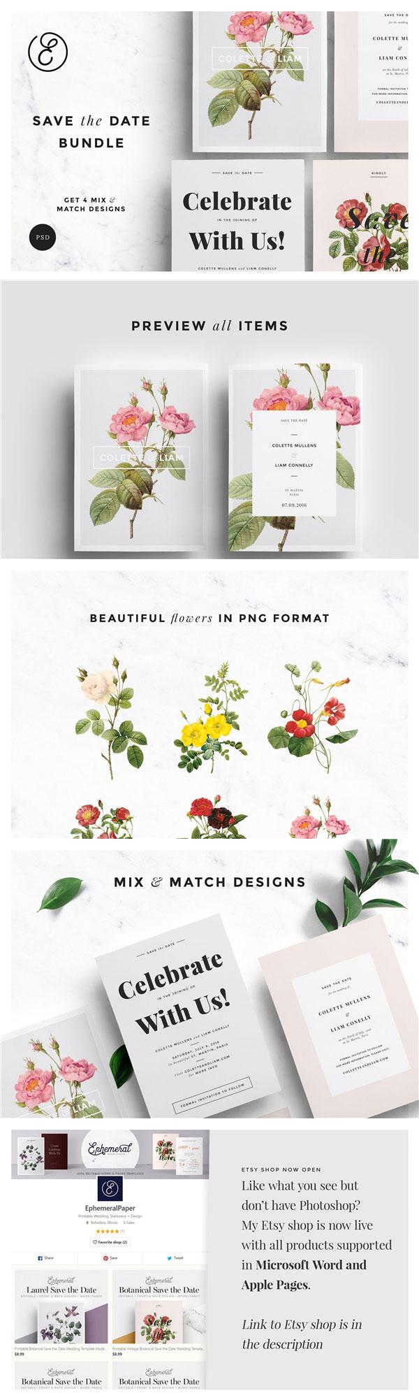 优雅现代植物卡片