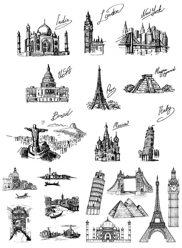 手绘风格地标建筑