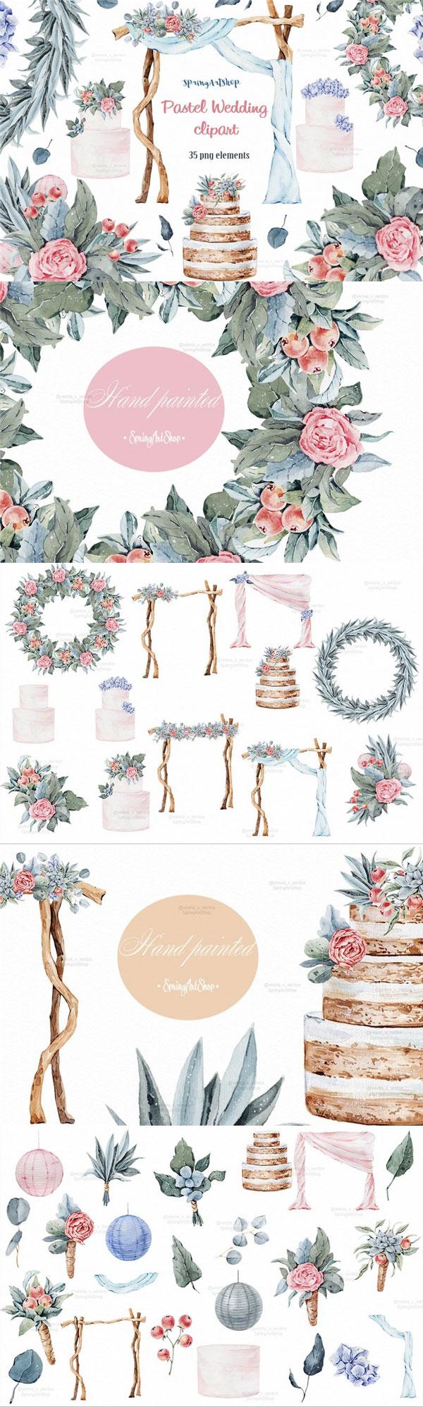 水彩婚礼蛋糕插画