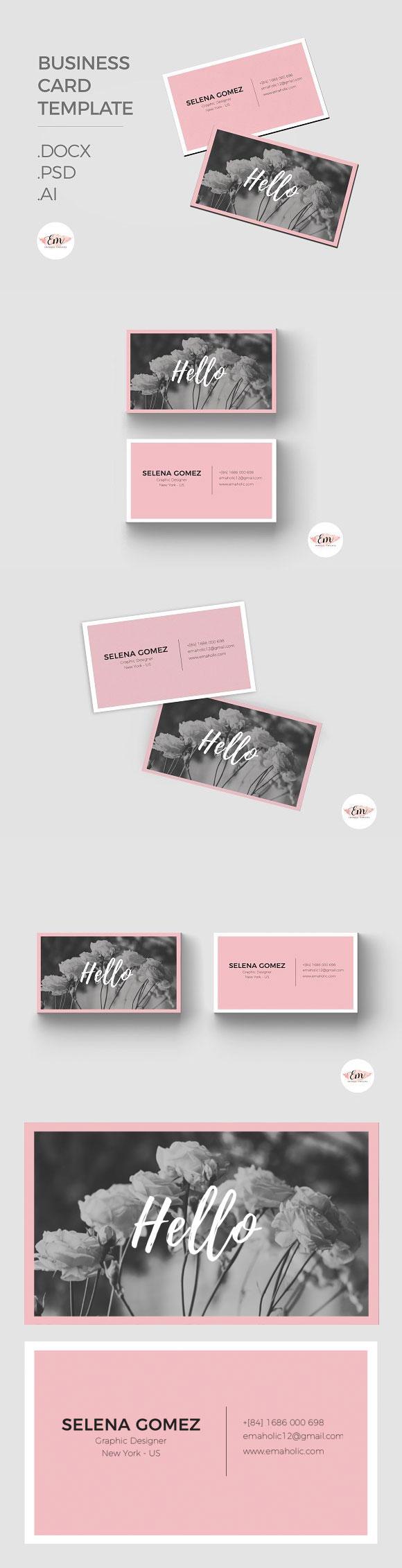 粉色女性个性名片