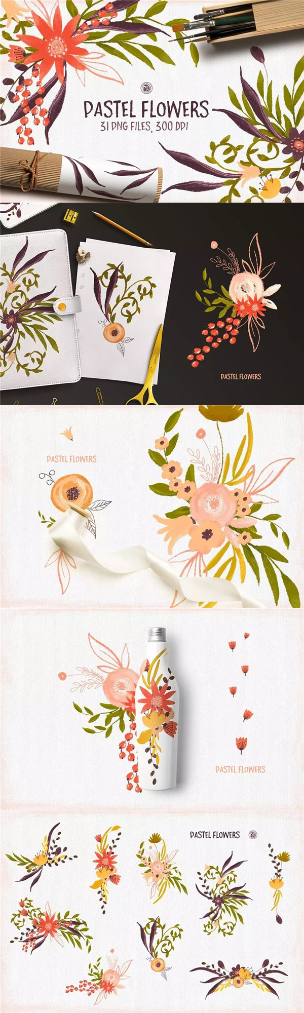 手绘花卉水粉画