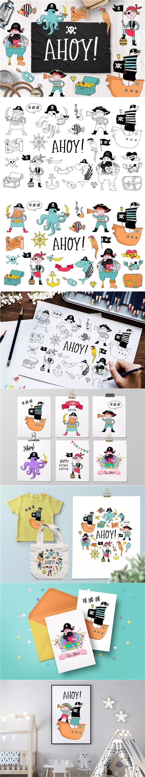 海盗船卡通插画
