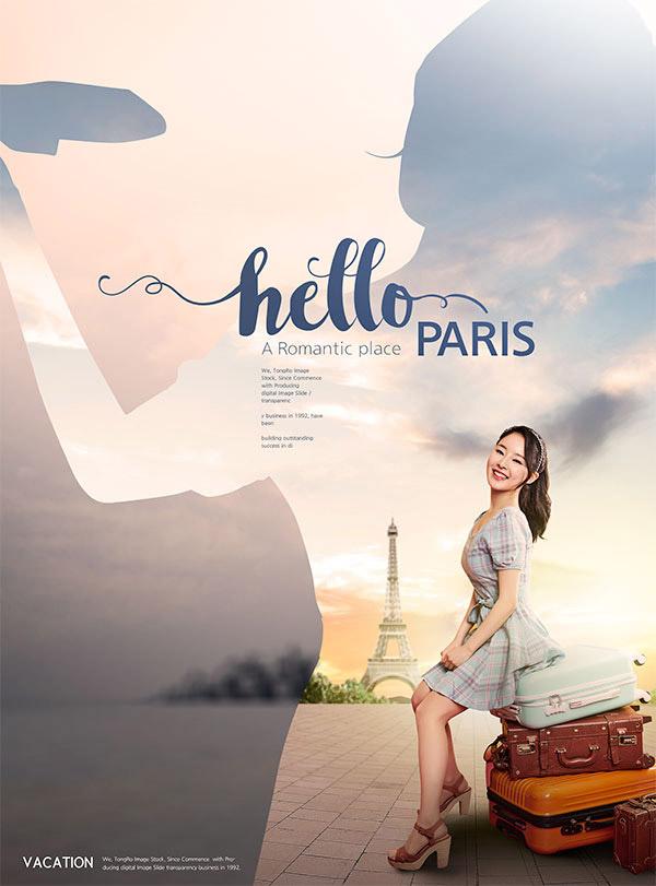 美女旅游海报