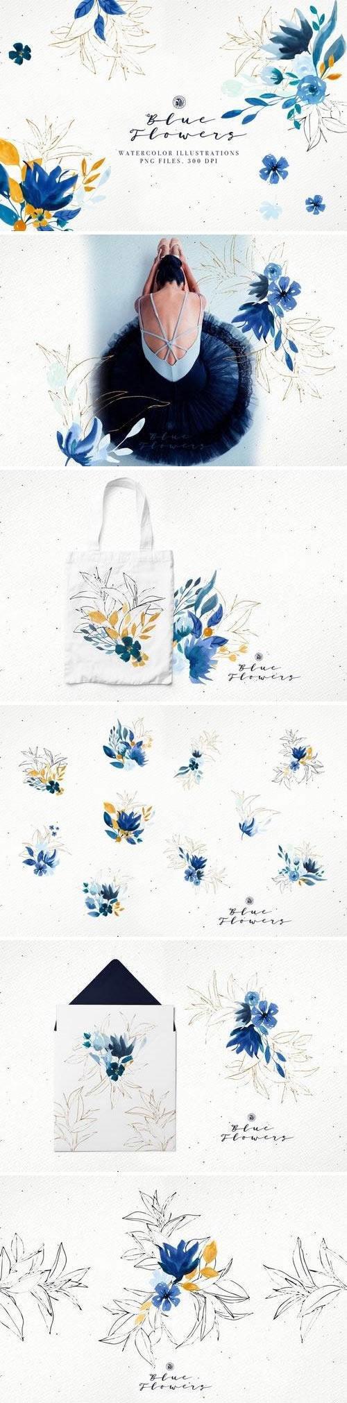 浪漫花卉水彩插图